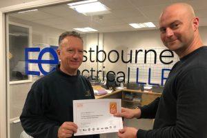 Chris Smart receiving certificate
